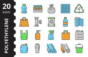 Low density polyethylene - linear colored icon set. Vector symbols.