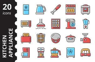 Kitchen Appliances - Linear Colored Icons Set.  Simple vector symbols.