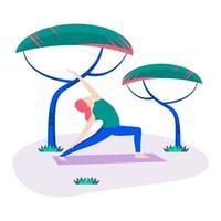 Vector illustration,woman doing yoga