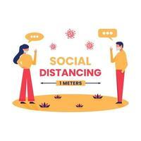Social distancing vector illustration