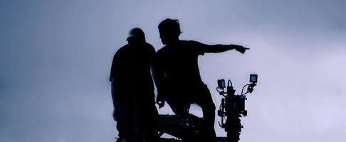 producción de video detrás de escena. Realización de una película comercial de televisión. foto