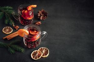 Traditional Christmas hot mulled wine. Hot drink photo