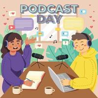 Woman and Man Recording Podcast in Studio vector