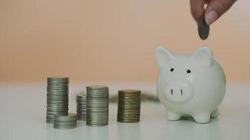 salvar o conceito de dinheiro. as pessoas colocam moedas no cofrinho. video