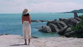 Woman alone of travel on the sea in holiday. video