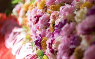 cama de flores de colores foto