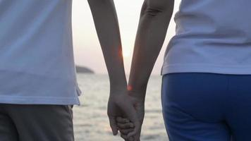 Mom and Daughter Holding Hands Together During Sunrise video
