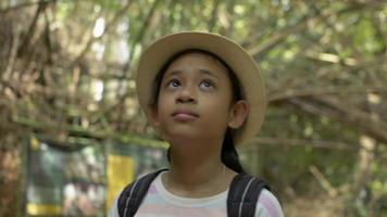 fille avec sac à dos en regardant autour de la forêt tropicale video