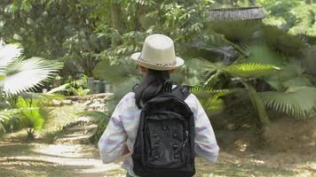 vue d'une fille avec sac à dos marchant dans un parc naturel tropical video