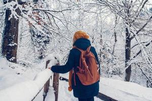 Beautiful young girl in a winter park walks in the winter forest photo