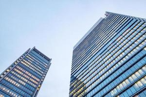 Windows of skyscraper business office buildings photo
