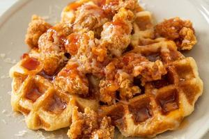 Homemade fried chicken with waffle and cheese photo