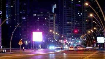 4k time lapse night traffic. video