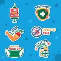 conjunto de pegatinas de vacuna covid19 vector