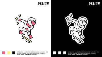 Cosmonaut freestyle with skateboard on the space with astronaut suit vector