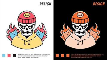 hip hop skull and cat on fire, illustration for t-shirt vector