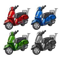 colorful mopeds collection vector