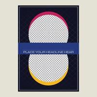 Diseño de fondo de vector azul oscuro, magenta y amarillo para el título