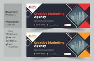 Creative banner, web banner template design vector