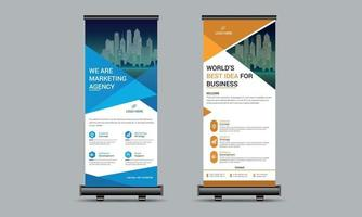 Business roll up, standee design, signage banner template vector