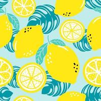 Seamless pattern lemon. Slices of citrus and leaf. vector