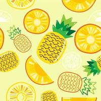 Seamless pattern  pineapple isolated on yellow pastel background vector