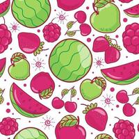 Seamless pattern cute fruits on white background vector