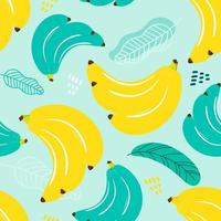 Seamless pattern banana and leaf vector