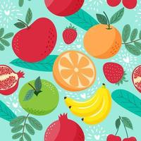 Hand draw cute seamless pattern mix fruits vector