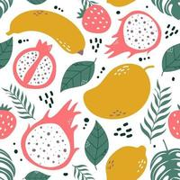 Seamless pattern fruits and leaf vector