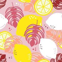 Seamless pattern lemon. Slices of citrus and leaf vector