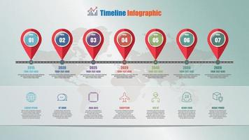 Roadmap timeline infographic with 7 steps, Vector Illustration