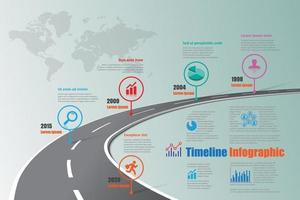 Business roadmap timeline infographic template with pointers designed vector