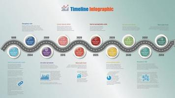 Roadmap timeline infographic with 10 steps circle Vector Illustration