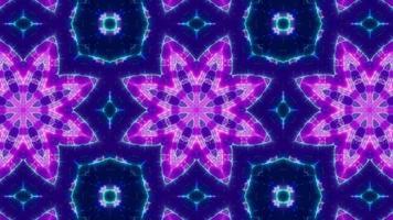 forma floral parpadeante púrpura caleidoscopio azul claro video
