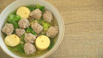 Clear Soup with Cabbage, Tofu Egg and Minced Pork video
