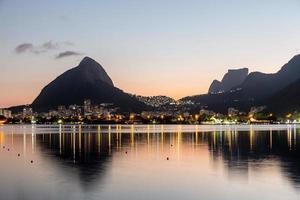 sunset at Rodrigo de Freitas Lagoon in Rio de Janeiro Brazil. photo