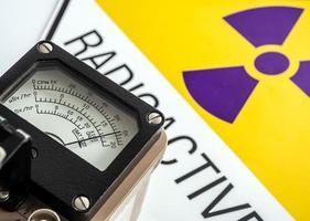 Radiation measurement with Hand-held radiation survey meter photo