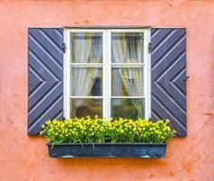 vieja ventana de cerca. Flores amarillas. foto