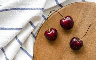 Ripe cherry, top view. Kitchen. Summer berry. photo