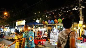 Time-Lapse of A Busy Night Market Street in Thailand video