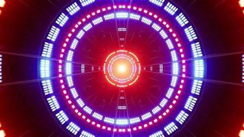 bucle de fondo de túnel de luz de círculo rojo y azul video