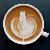 Top view of a mug of latte art coffee. photo