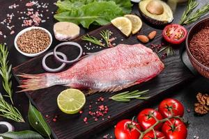 Raw fillet of red sea perch prepared for baking with spices and herbs photo