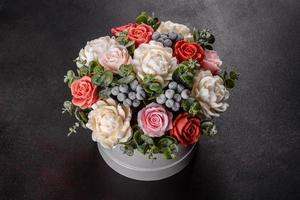 Bouquet of beautiful bright rose flowers photo