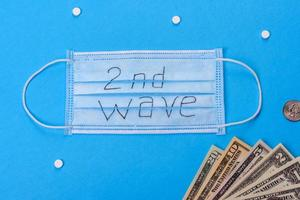 Covid 19 second wave. Covid 19. Medical mask on colors background photo
