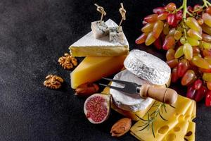 Beautiful delicious camembert cheese, parmesan, brie photo