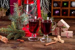 Hot mulled wine for winter and Christmas with various spices photo