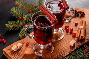 Hot mulled wine for winter and Christmas photo