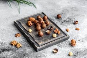 varios tipos de nueces en el contexto foto